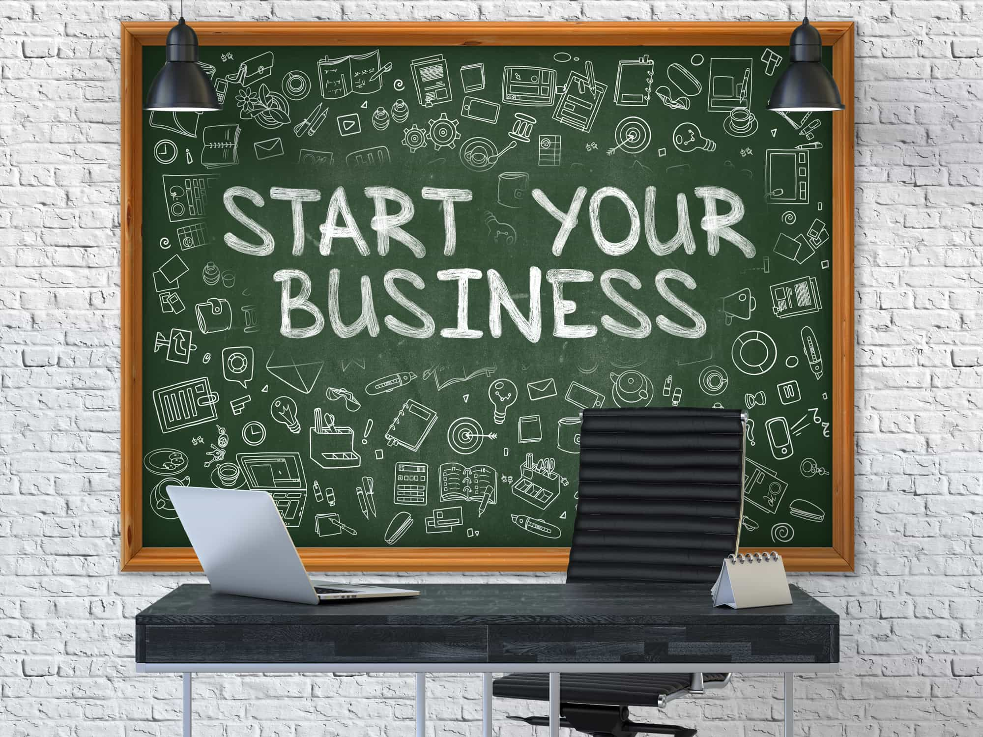 Hand Drawn Start Your Business on Green Chalkboard. Modern Office Interior. White Brick Wall Background. Business Concept with Doodle Style Elements. 3D.