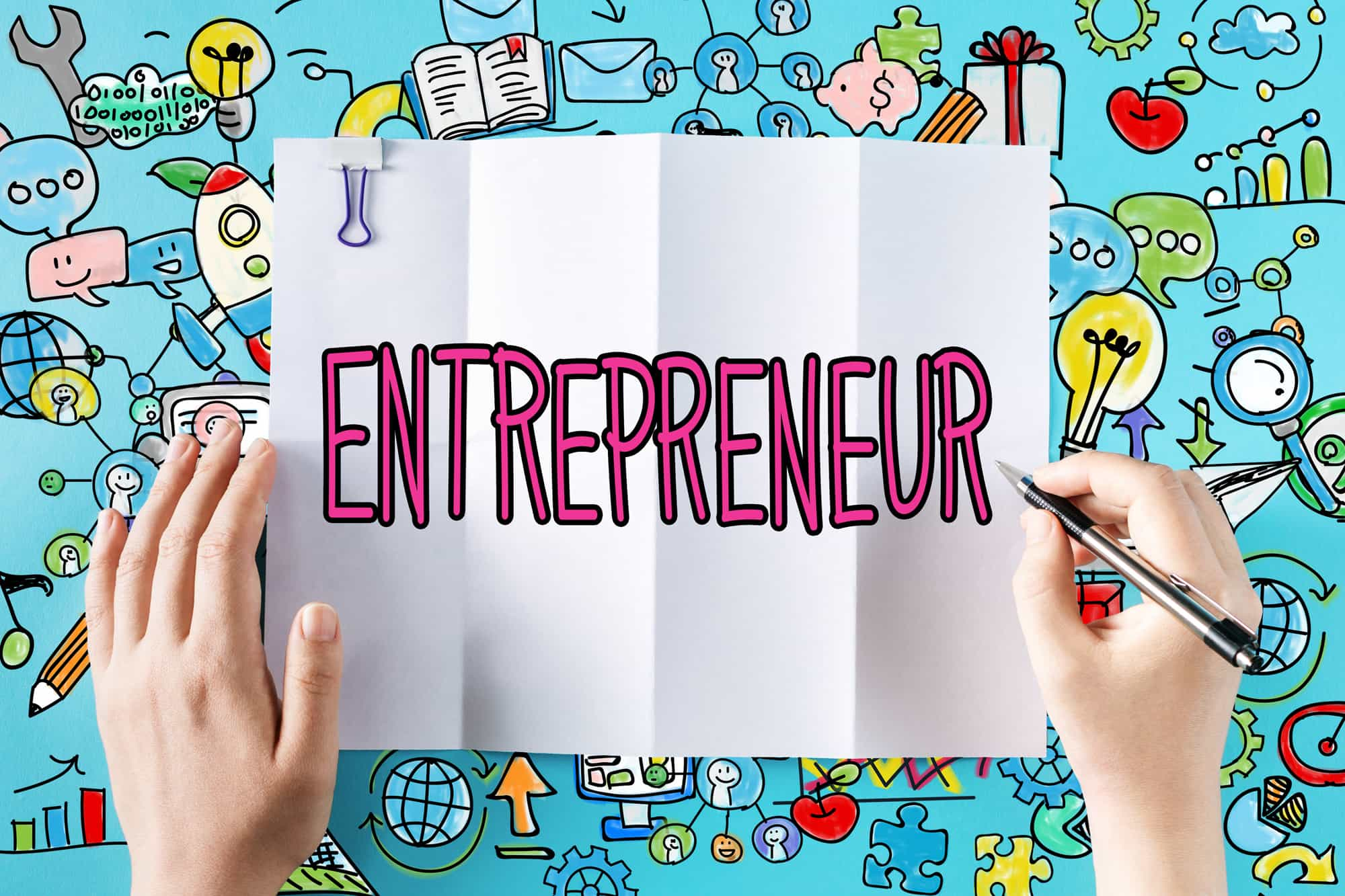 Entrepreneur text with hands and colorful illustrations