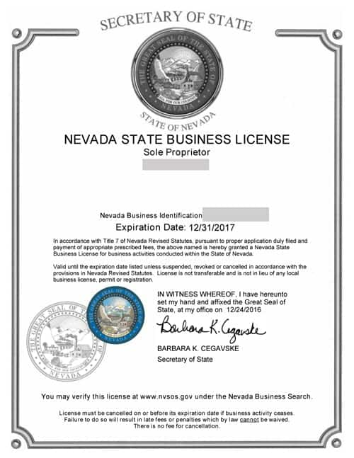 Nevada Business License Required By The State 55 State Fee
